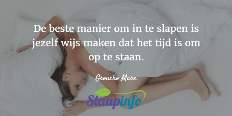 De beste manier om in te slapen is jezelf wijs maken dat het tijd is om op te staan.