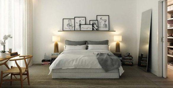 Moderne slaapkamer met een nis boven het bed fotospecial
